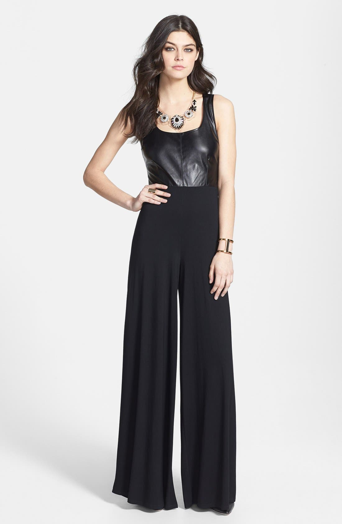 Main Image - BB Dakota Faux Leather Bodice Jumpsuit