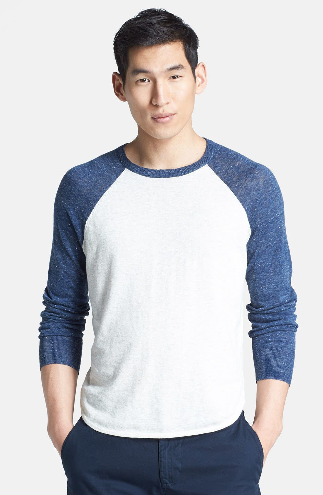 Alternate Image 1 Selected - Save Khaki Raglan Baseball Sweater