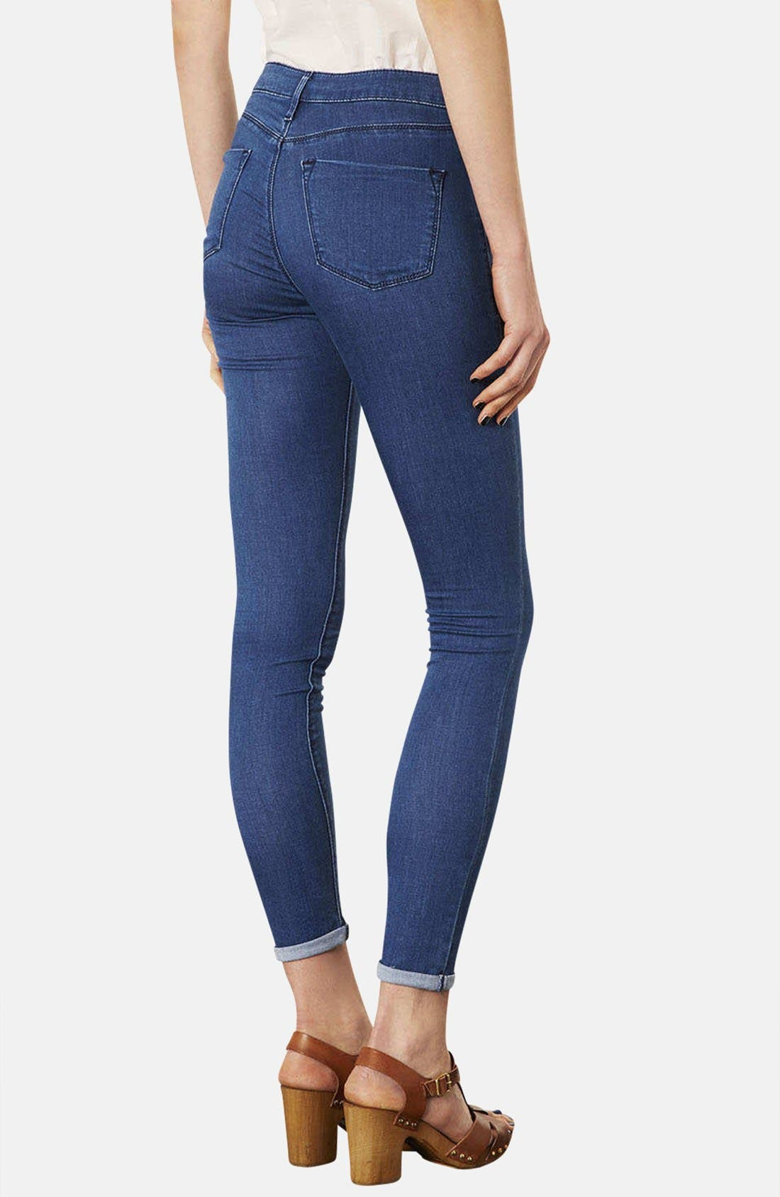 Alternate Image 2  - Topshop Moto 'Leigh' Skinny Jeans (Blue) (Regular & Short)