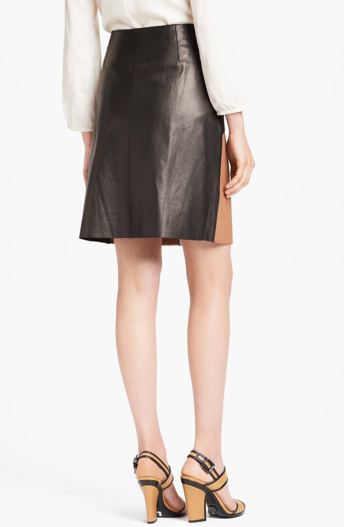 Alternate Image 2  - Michael Kors Colorblock Leather Wrap Skirt