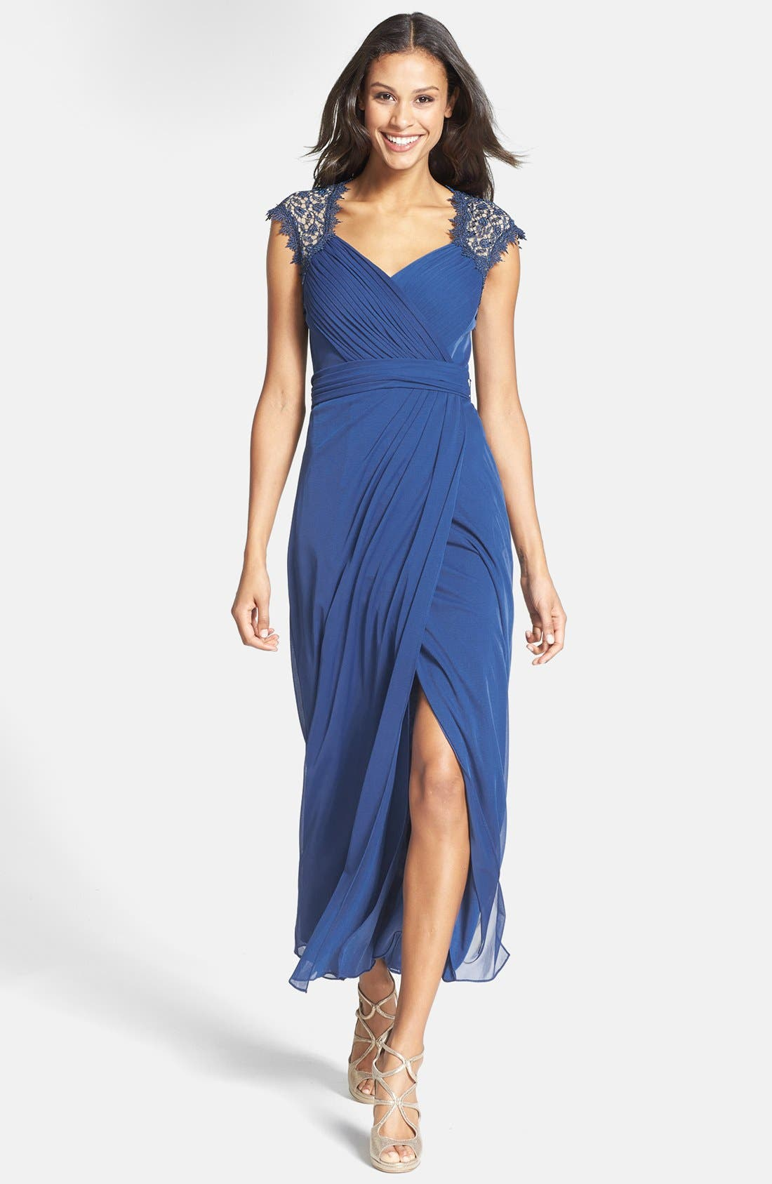 Main Image - Alex Evenings Embellished Cap Sleeve Gown