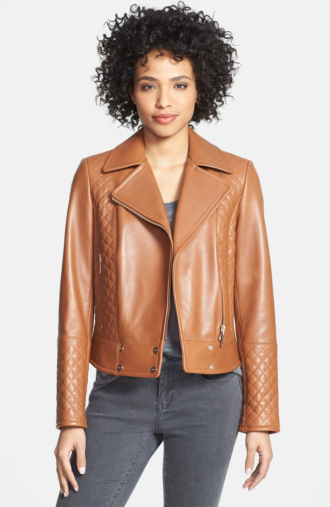 Main Image - Calvin Klein Quilt Detail Asymmetrical Leather Moto Jacket (Online Only)
