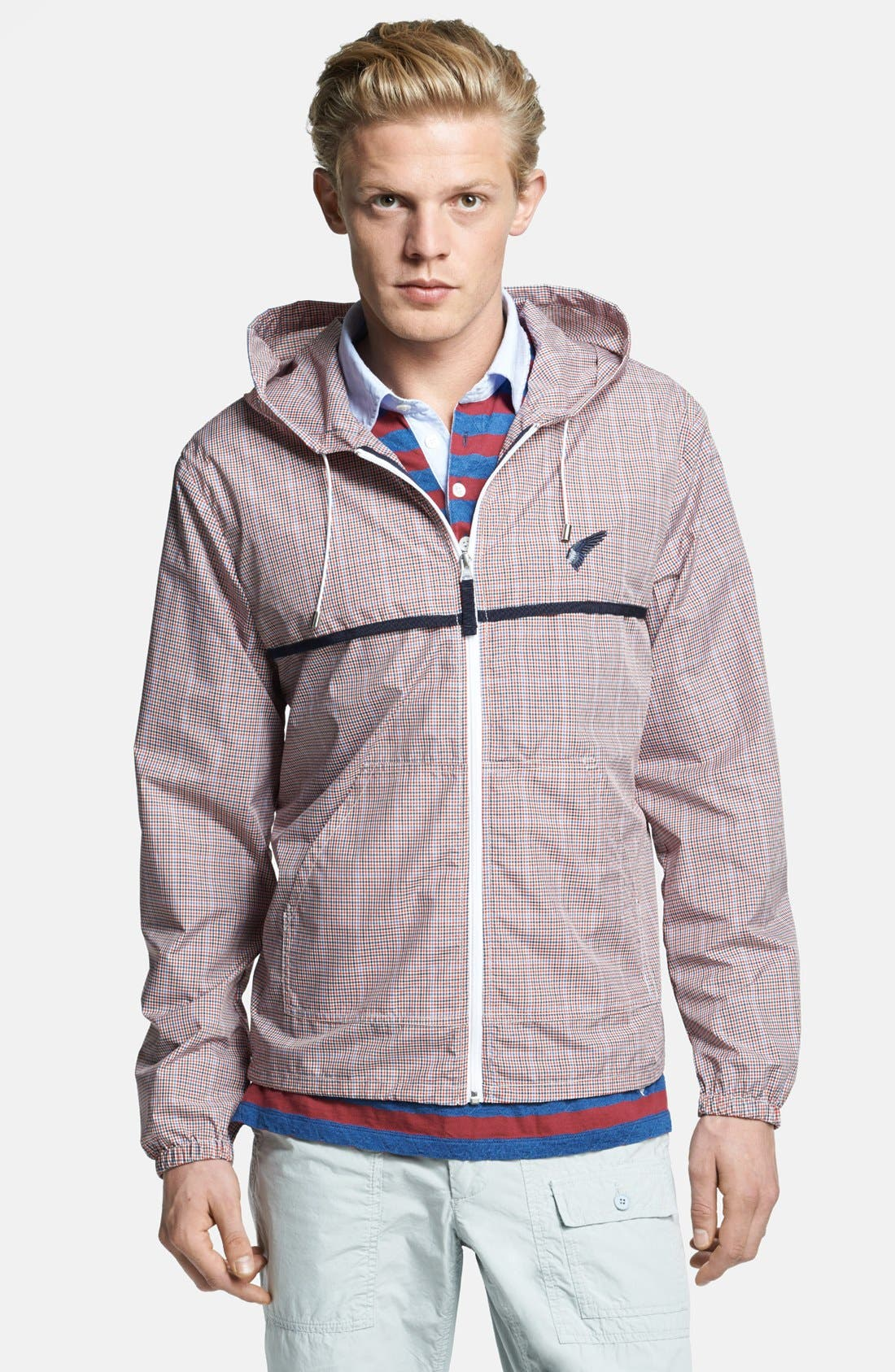 Alternate Image 1 Selected - Michael Bastian Lightweight Microcheck Hooded Jacket