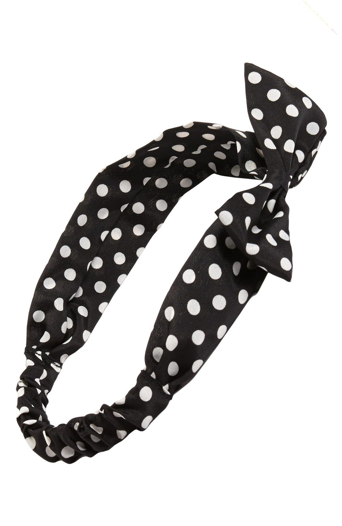 Alternate Image 1 Selected - Capelli of New York Polka Dot Bow Head Wrap