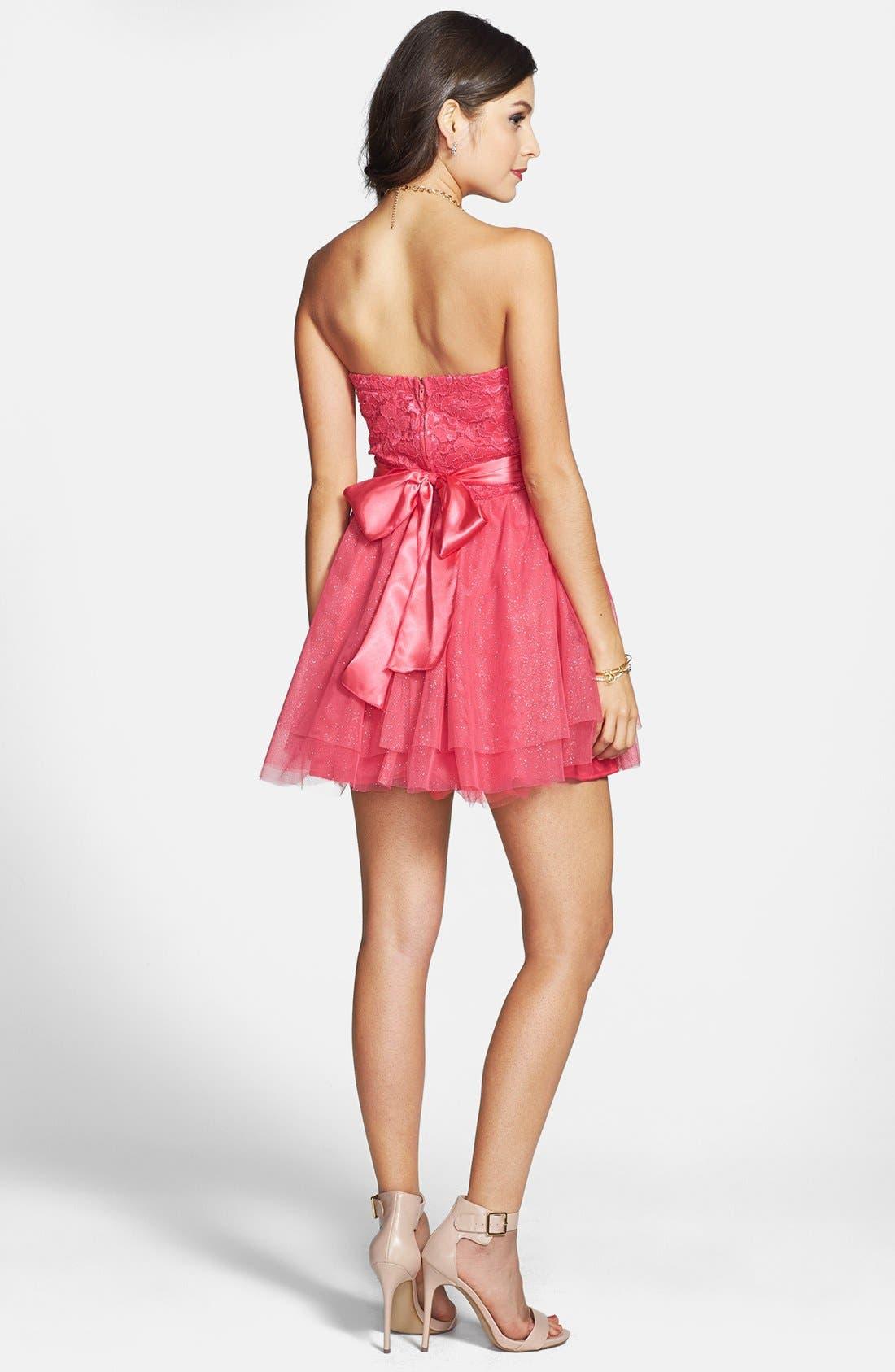 Alternate Image 2  - Trixxi Lace Bodice Fit & Flare Dress (Juniors)