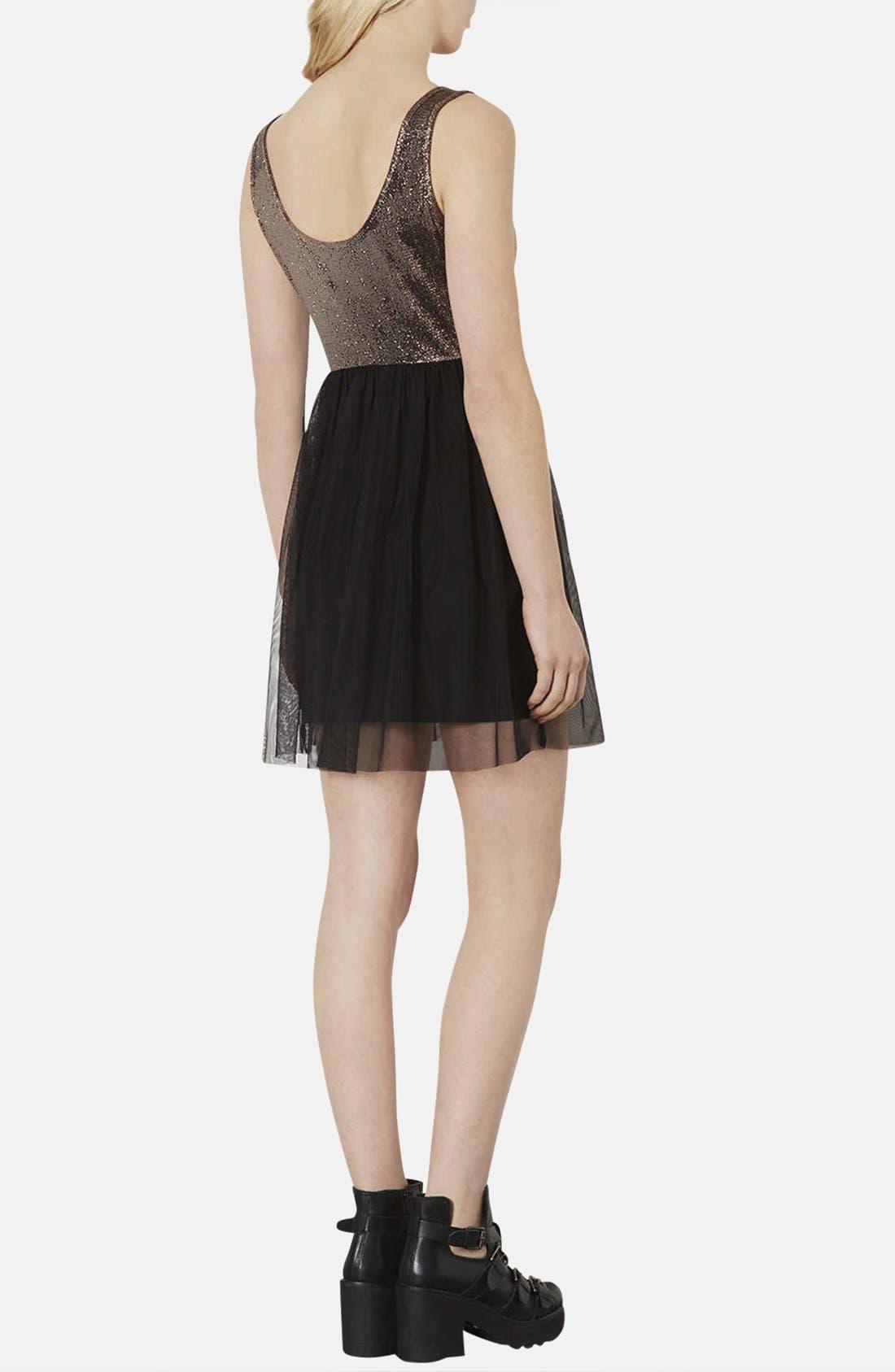 Alternate Image 2  - Topshop Metallic Bodice Jersey & Tulle Dress (Petite)