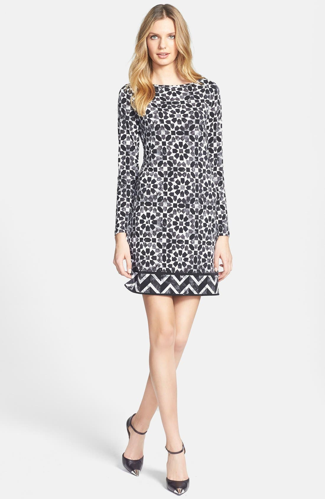 Main Image - MICHAEL Michael Kors Border Print Long Sleeve Dress (Regular & Petite)
