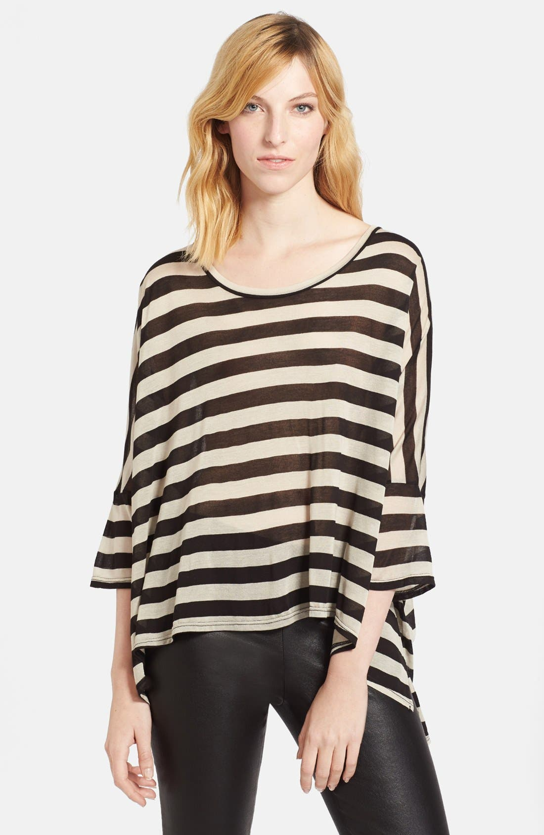 Alternate Image 1 Selected - Enza Costa Stripe Oversized Jersey Tee