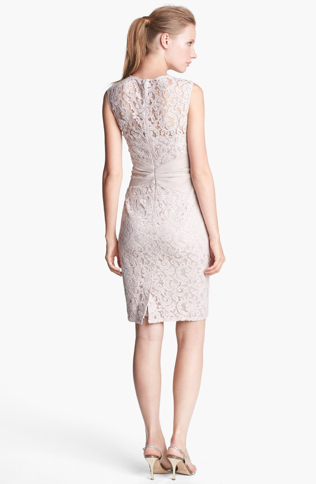 Alternate Image 2  - Eliza J Embellished Lace Sheath Dress (Petite)