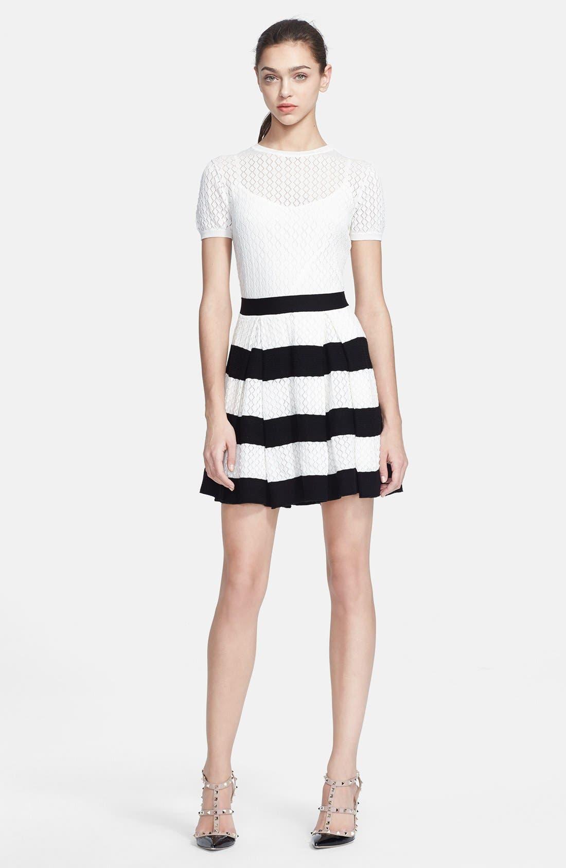 Alternate Image 1 Selected - RED Valentino Stripe Skirt Knit Dress