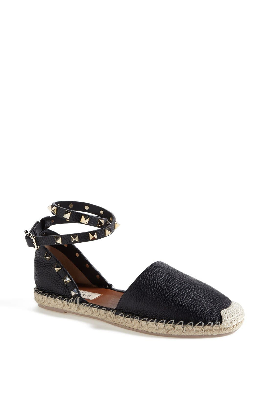 Main Image - Valentino Studded Ankle Wrap Espadrille Flat