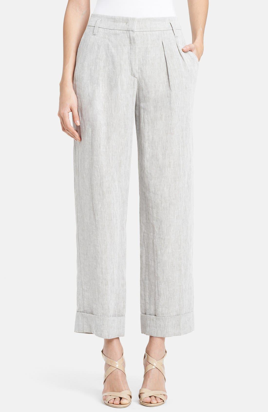 Alternate Image 1 Selected - Armani Collezioni Wide Crop Linen Pants