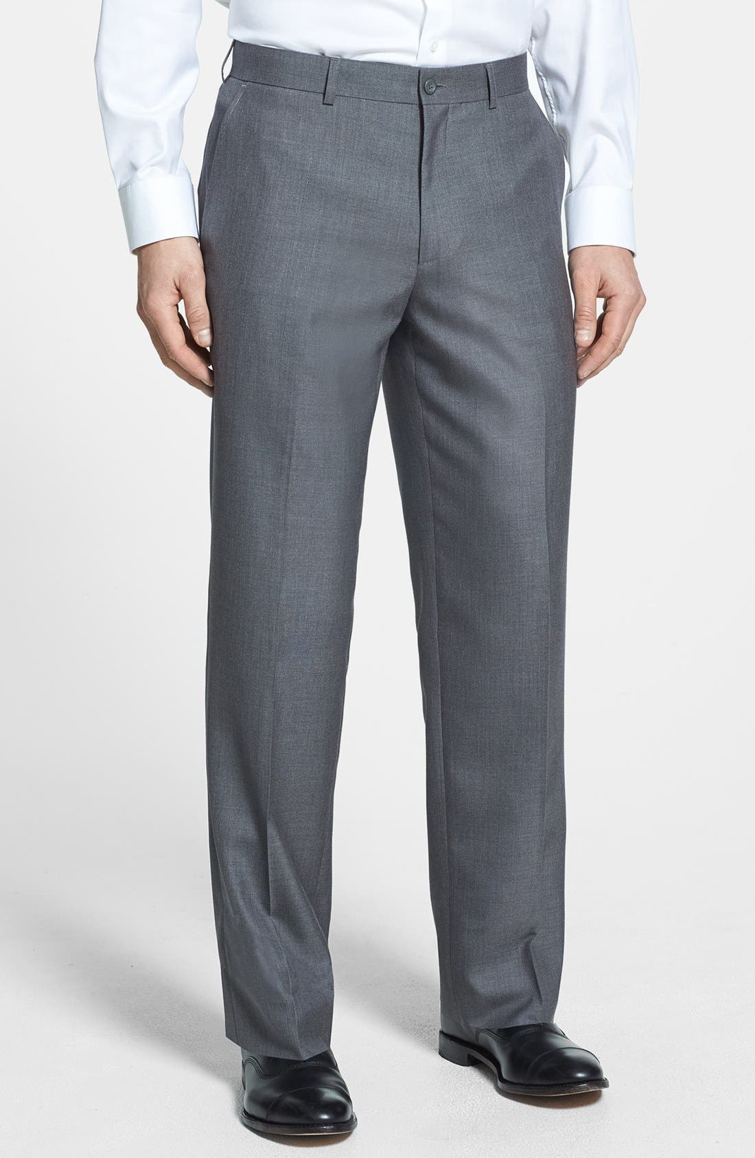 Main Image - Linea Naturale Flat Front Textured Trousers (Nordstrom Exclusive)