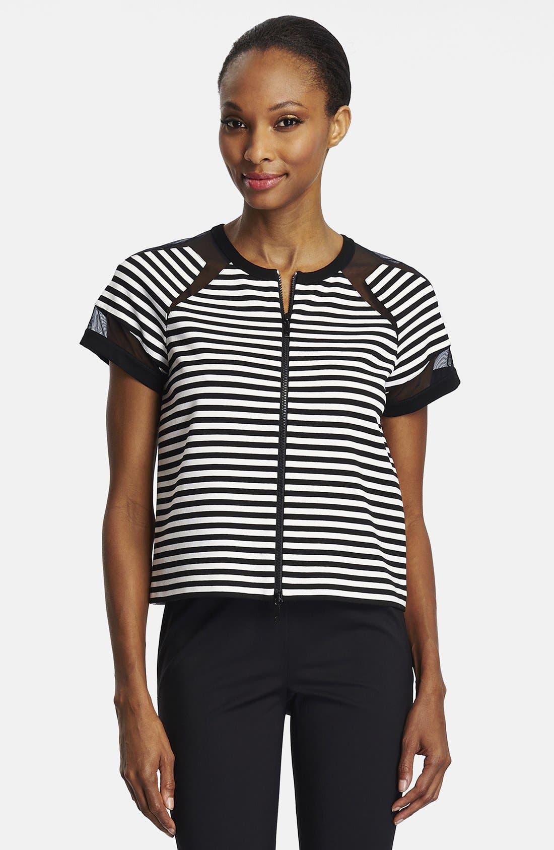 Main Image - Lafayette 148 New York Mesh Insert Stripe Front Zip Jacket