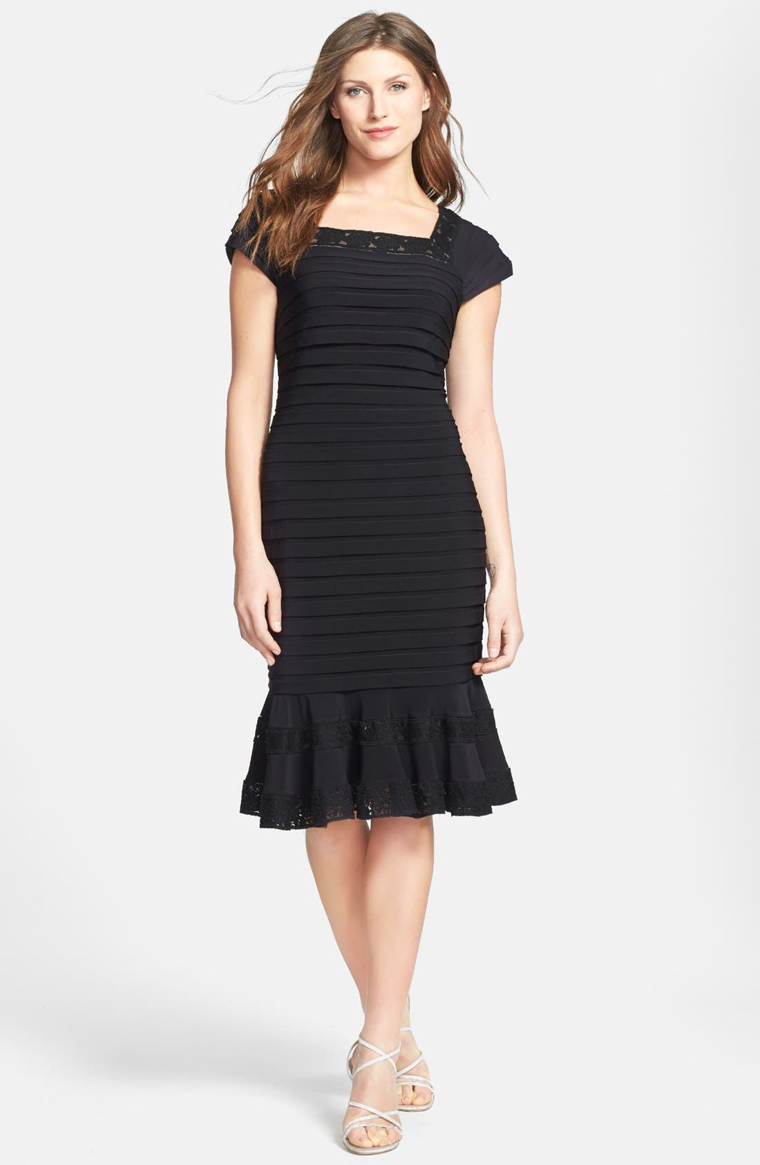 Main Image - Adrianna Papell Short Sleeve Tulip Hem Dress