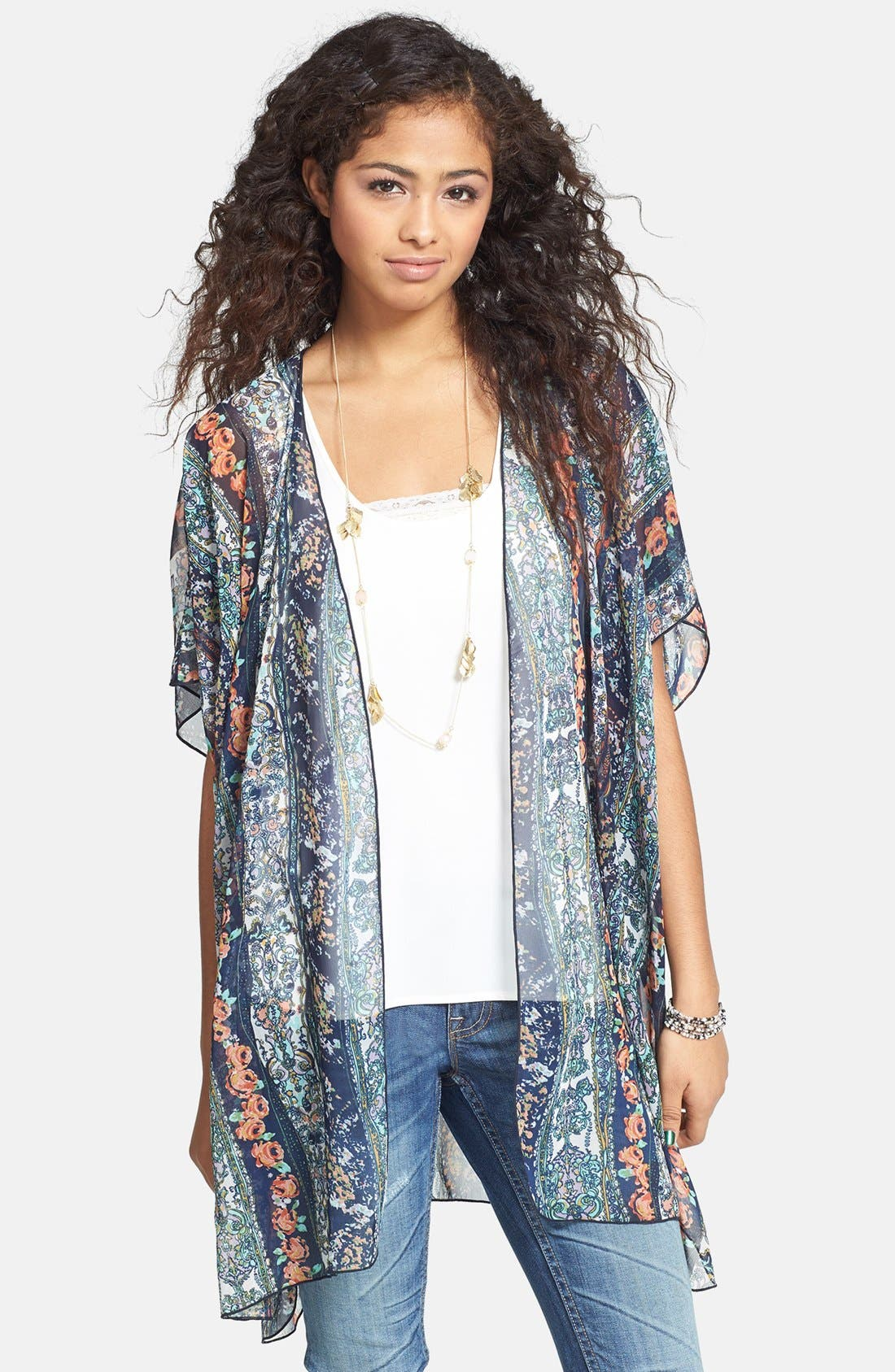 Main Image - Band of Gypsies Print Chiffon Kimono Jacket (Juniors)