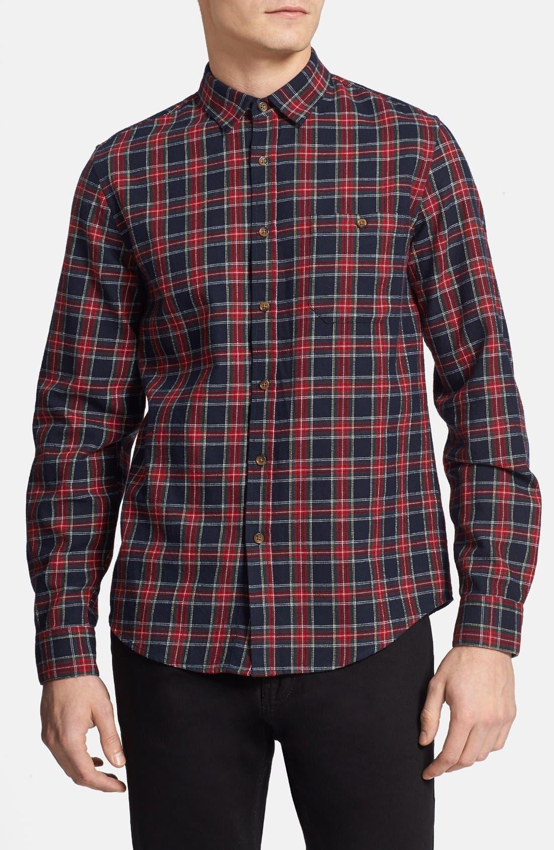 Main Image - Topman Classic Fit Tartan Flannel Shirt