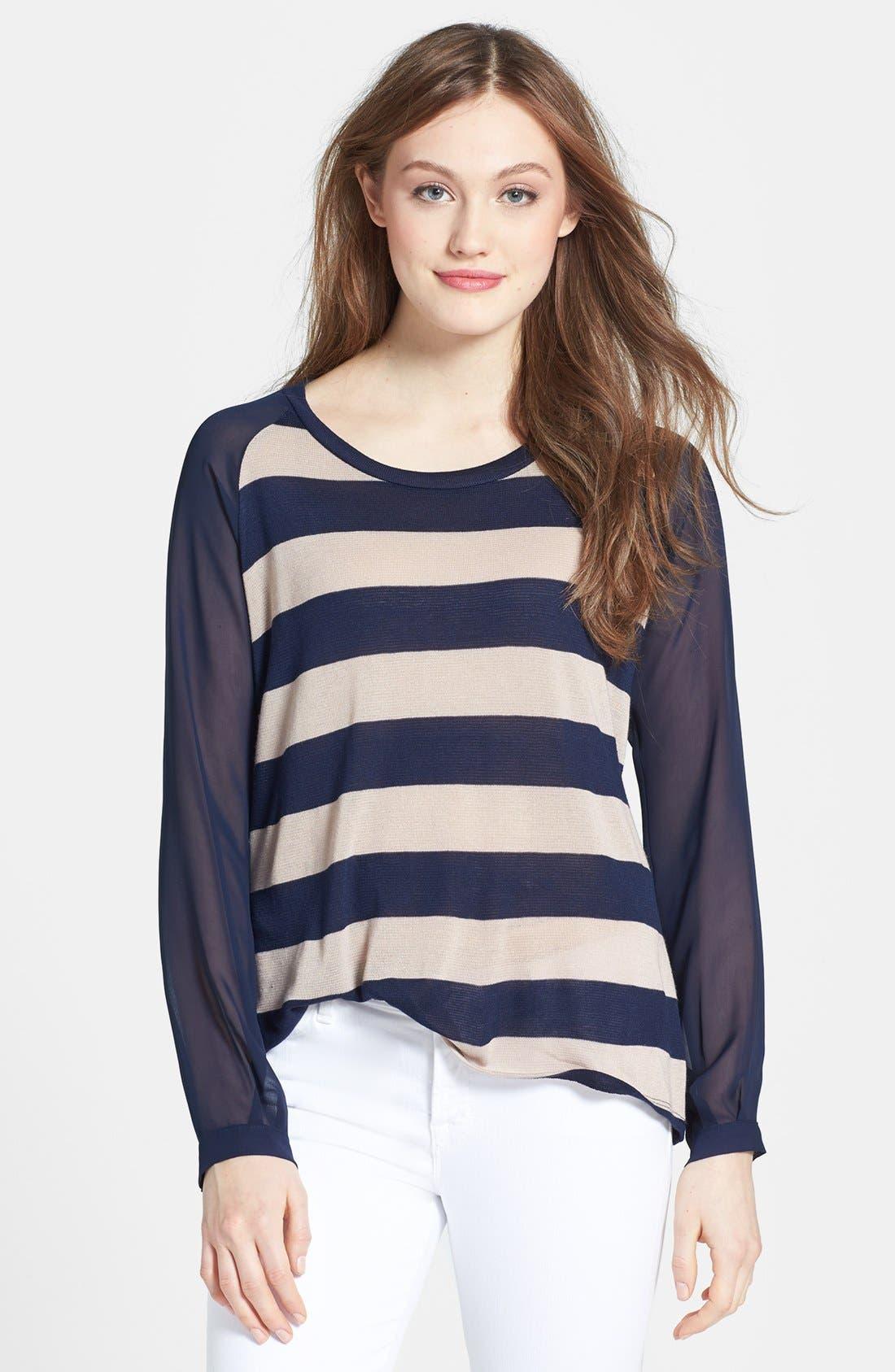 Main Image - Olivia Moon Woven Sleeve Pullover