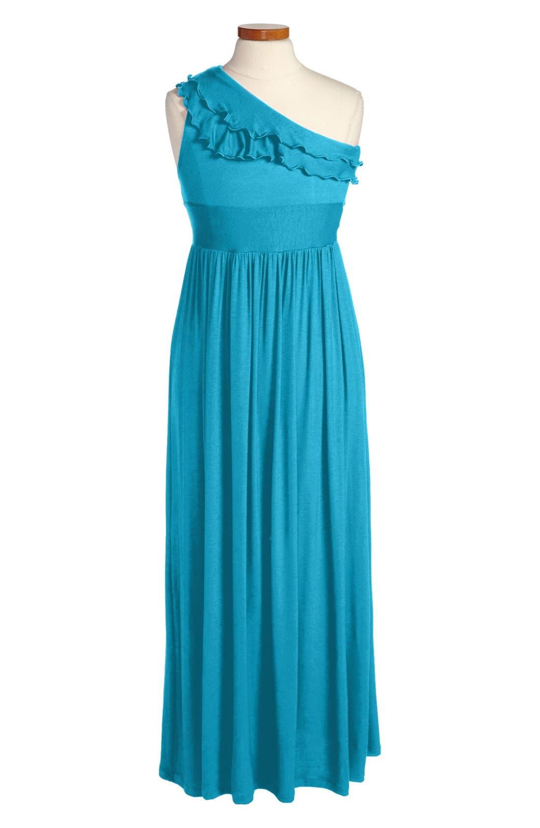 Alternate Image 1 Selected - Fiveloaves Twofish One-Shoulder Maxi Dress (Big Girls)