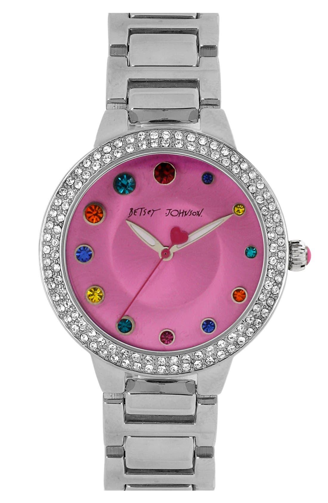 Main Image - Betsey Johnson Crystal Index Bracelet Watch, 39mm