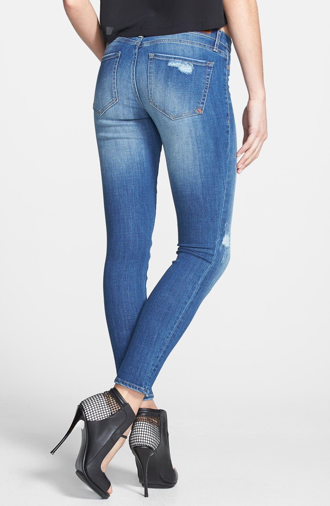 Alternate Image 2  - Dittos 'Jessica' Distressed Low Rise Skinny Jeans (Calypso)