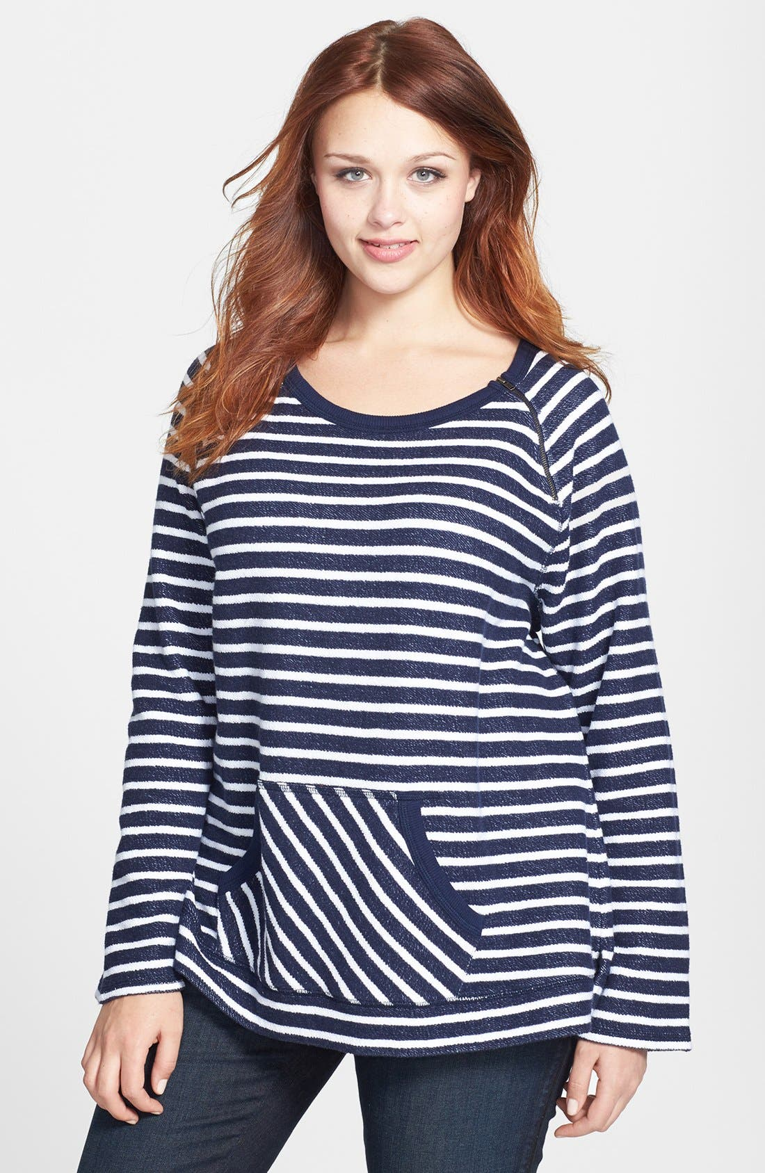 Alternate Image 1 Selected - Sejour Nautical Stripe Terry Top (Plus Size)