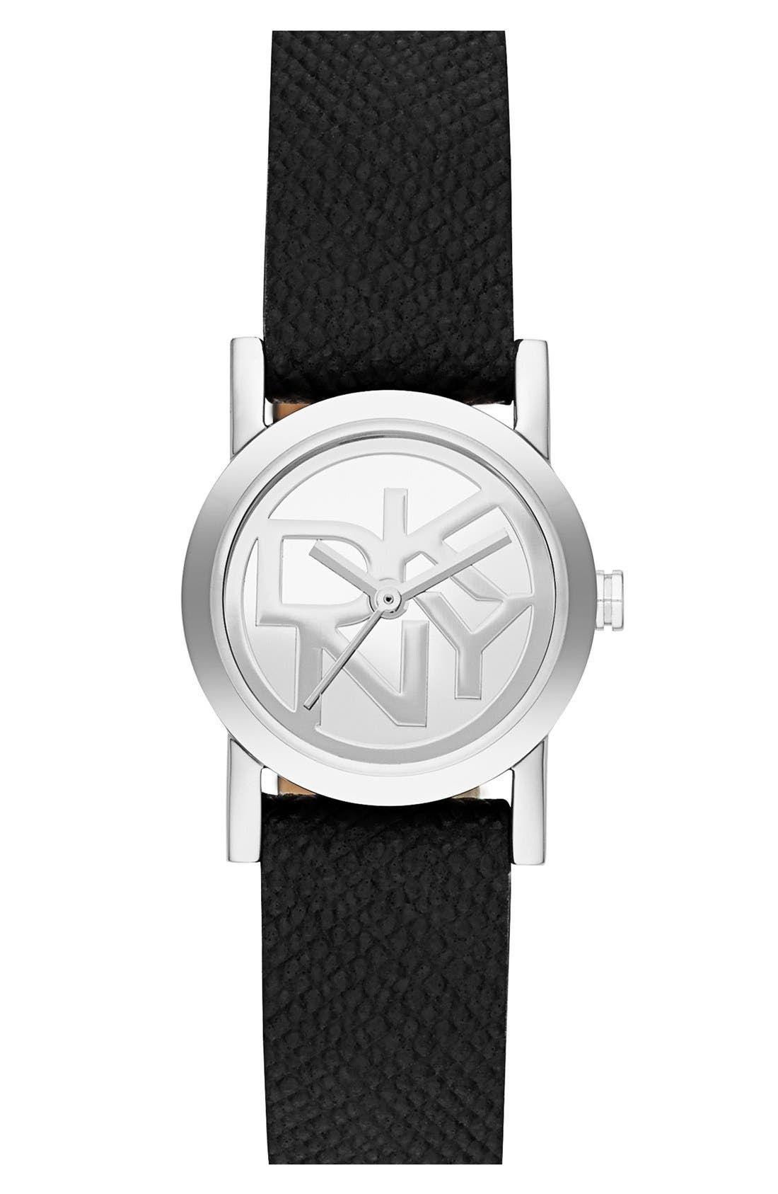 Alternate Image 1 Selected - DKNY 'Soho' Small Round Leather Strap Watch, 20mm