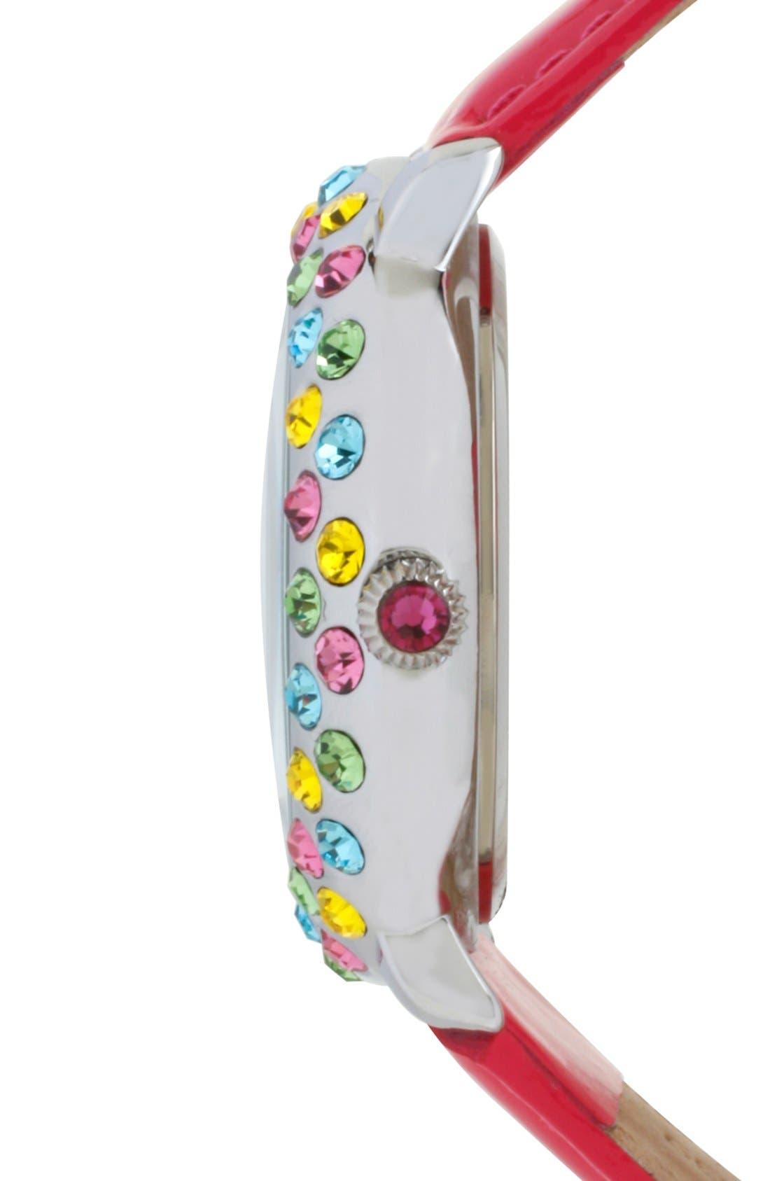 Alternate Image 3  - Betsey Johnson Multicolor Crystal Bezel Leather Strap Watch, 38mm