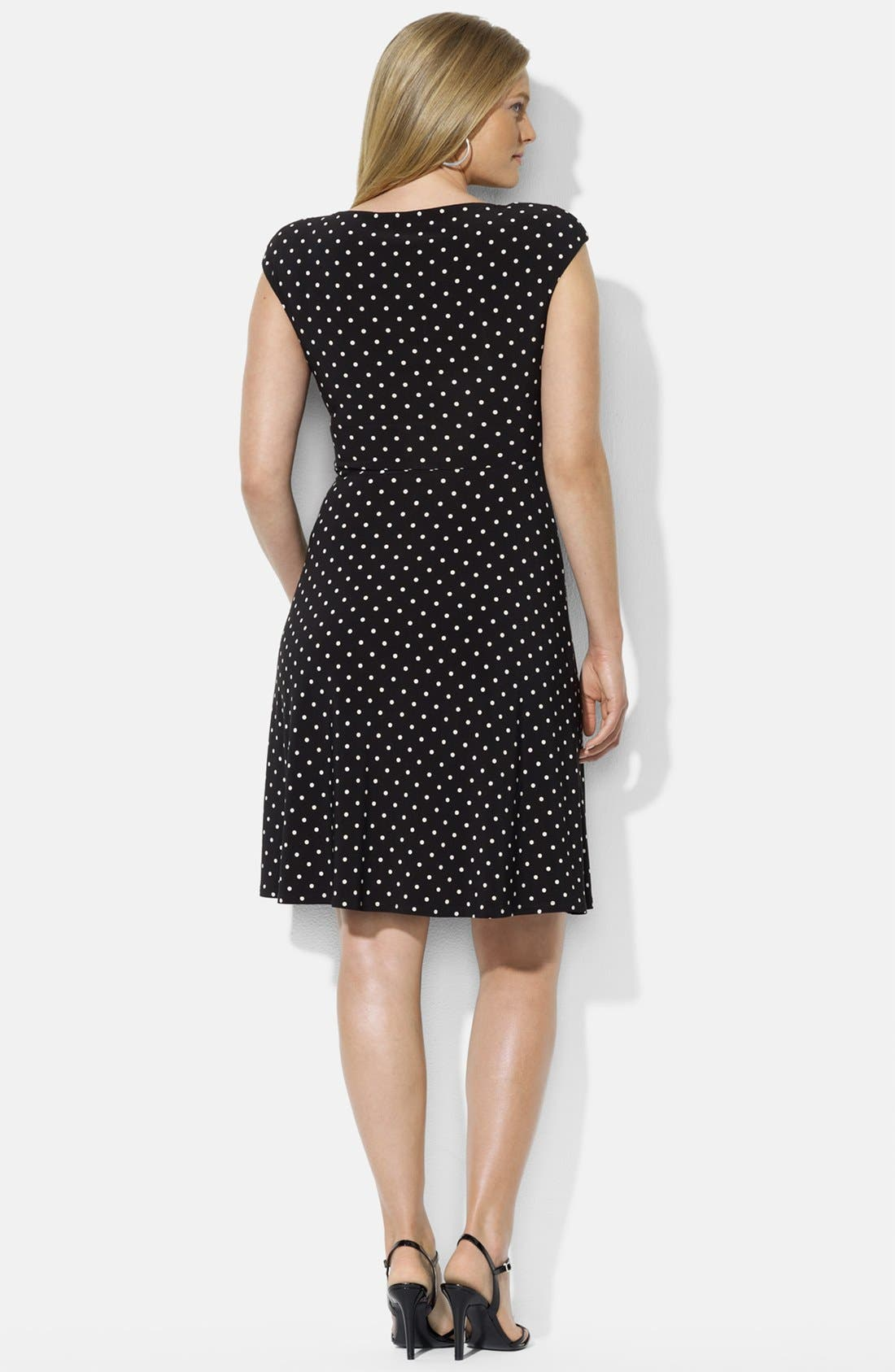 Alternate Image 2  - Lauren Ralph Lauren Cap Sleeve Faux Wrap Dress (Plus Size)