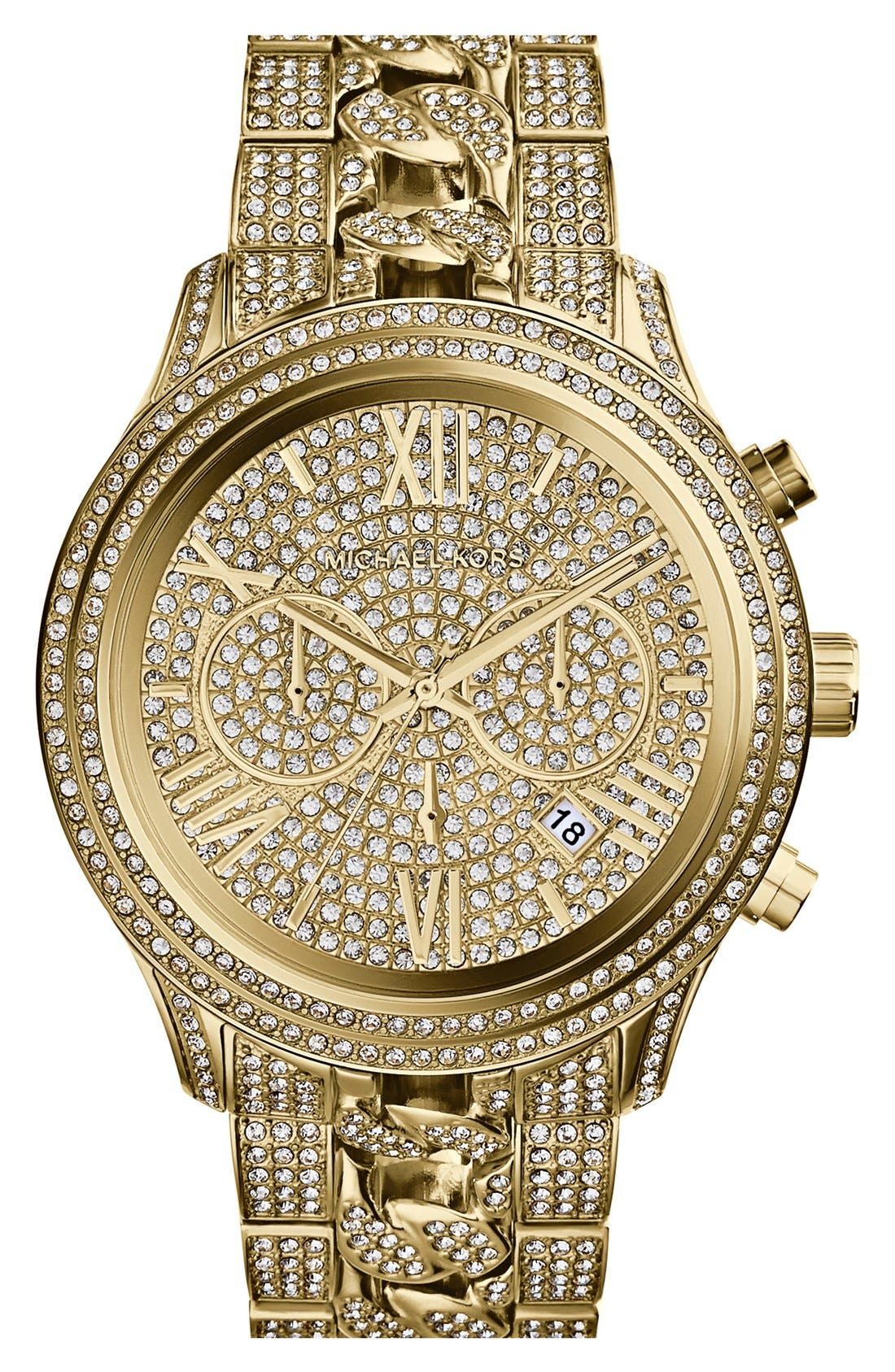 Main Image - Michael Kors 'Lindley' Pavé Chronograph Bracelet Watch, 48mm