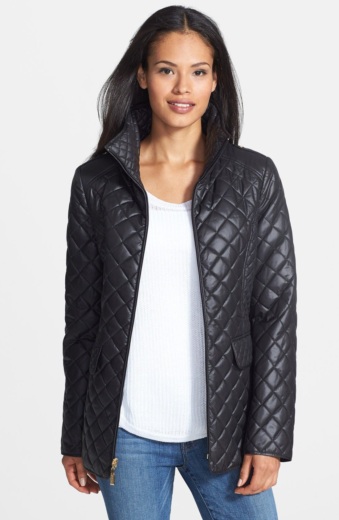 Alternate Image 1 Selected - Ellen Tracy Stand Collar Quilted Jacket (Online Only)