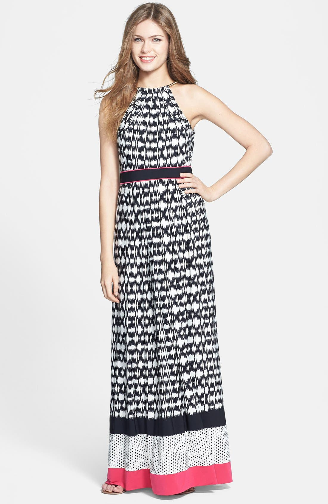 Alternate Image 1 Selected - Eliza J Metallic Neckline Sleeveless Maxi Dress