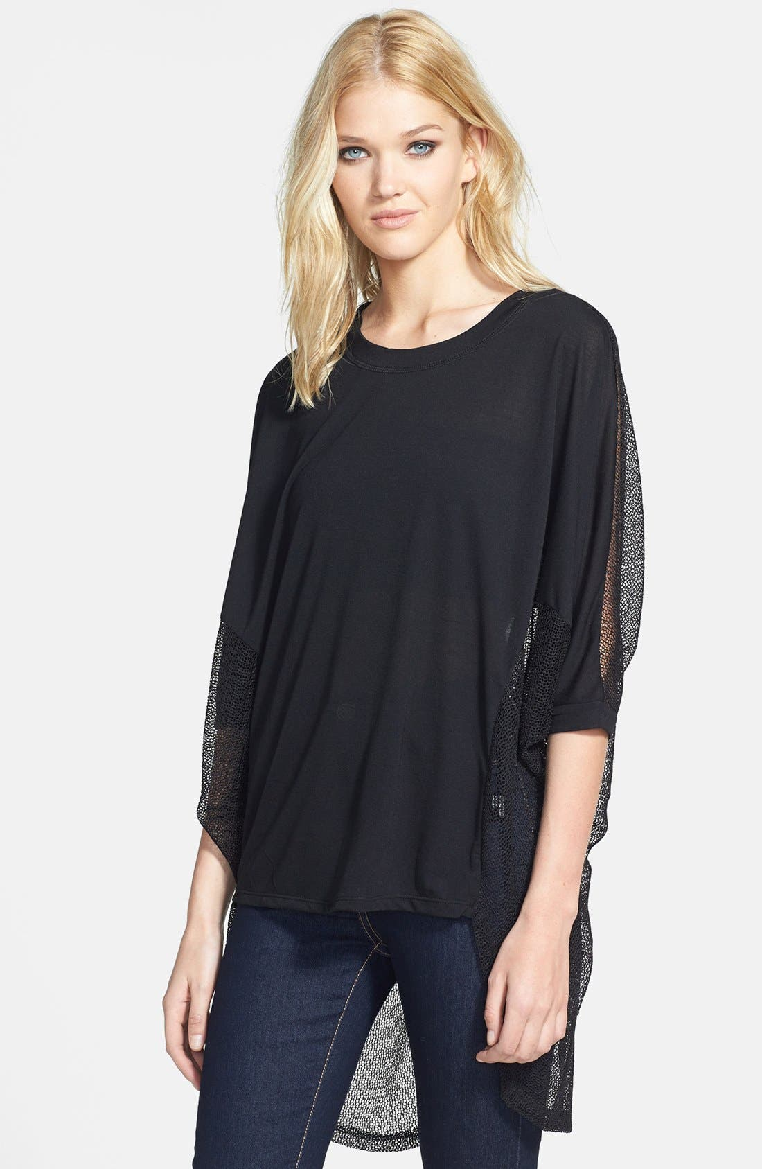 Main Image - Lucca Couture High/Low Sheer Mesh Top