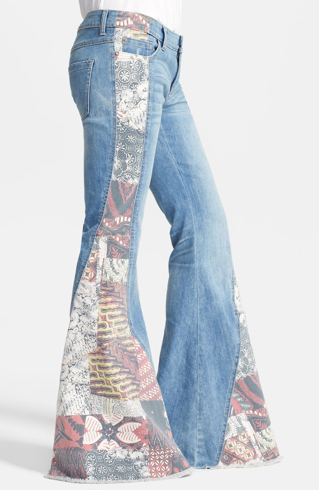 Alternate Image 4  - Free People 'Bali' Patchwork Flare Leg Jeans (Indigo Combo)