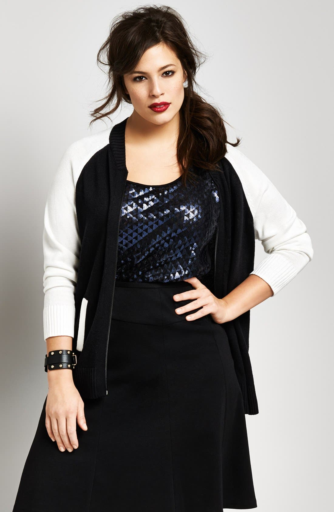 Alternate Image 5  - Sejour Knit Sweater Bomber Jacket (Plus Size)