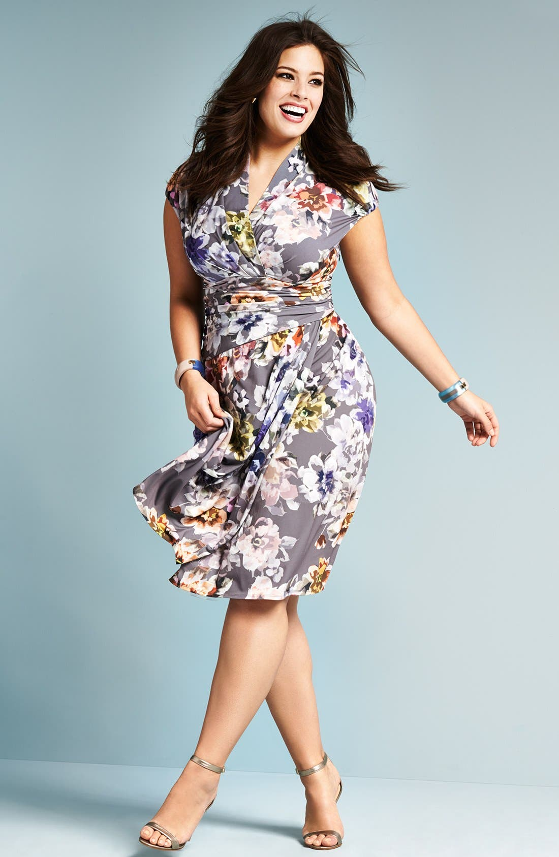Alternate Image 4  - Ivy & Blu Shirred Surplice Neckline Dress (Plus Size)
