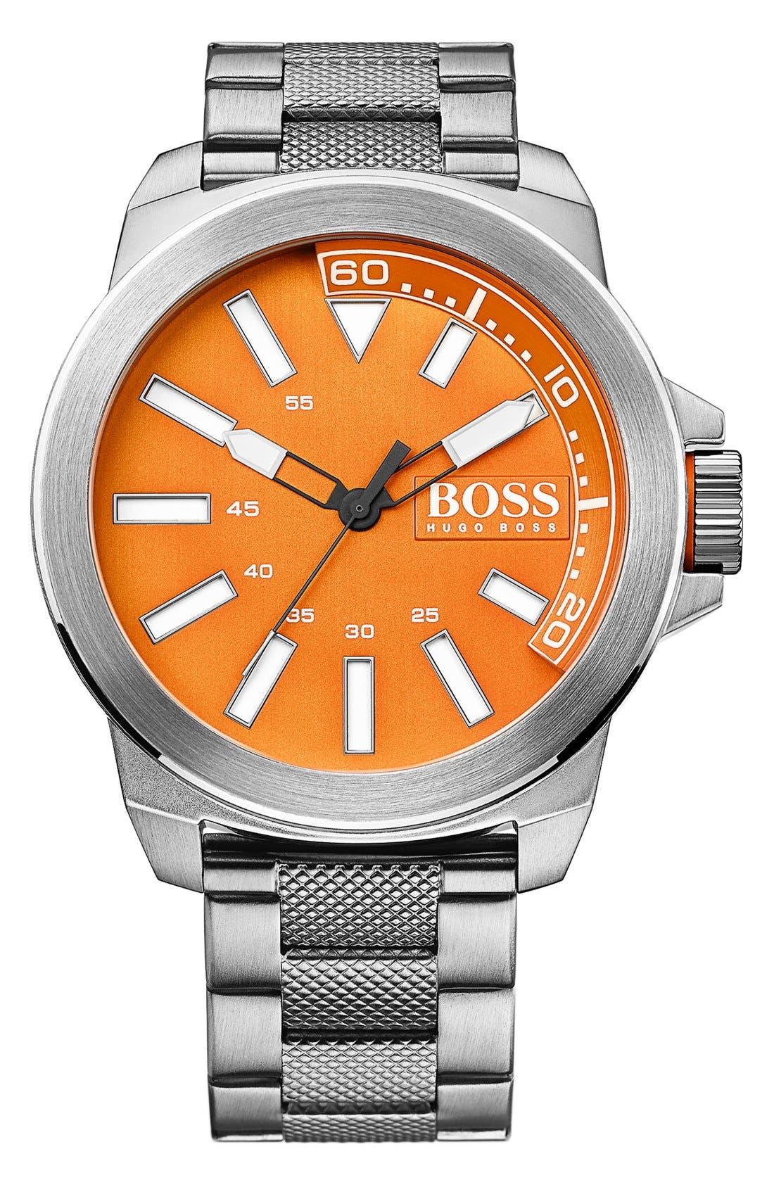Alternate Image 1 Selected - BOSS Orange Textured Bracelet Watch, 50mm
