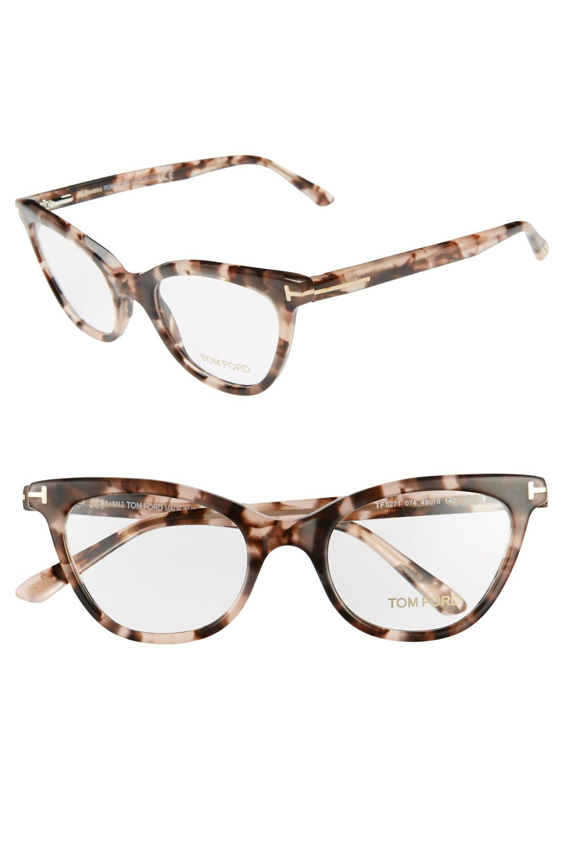 tom ford 49mm cat eye optical glasses only