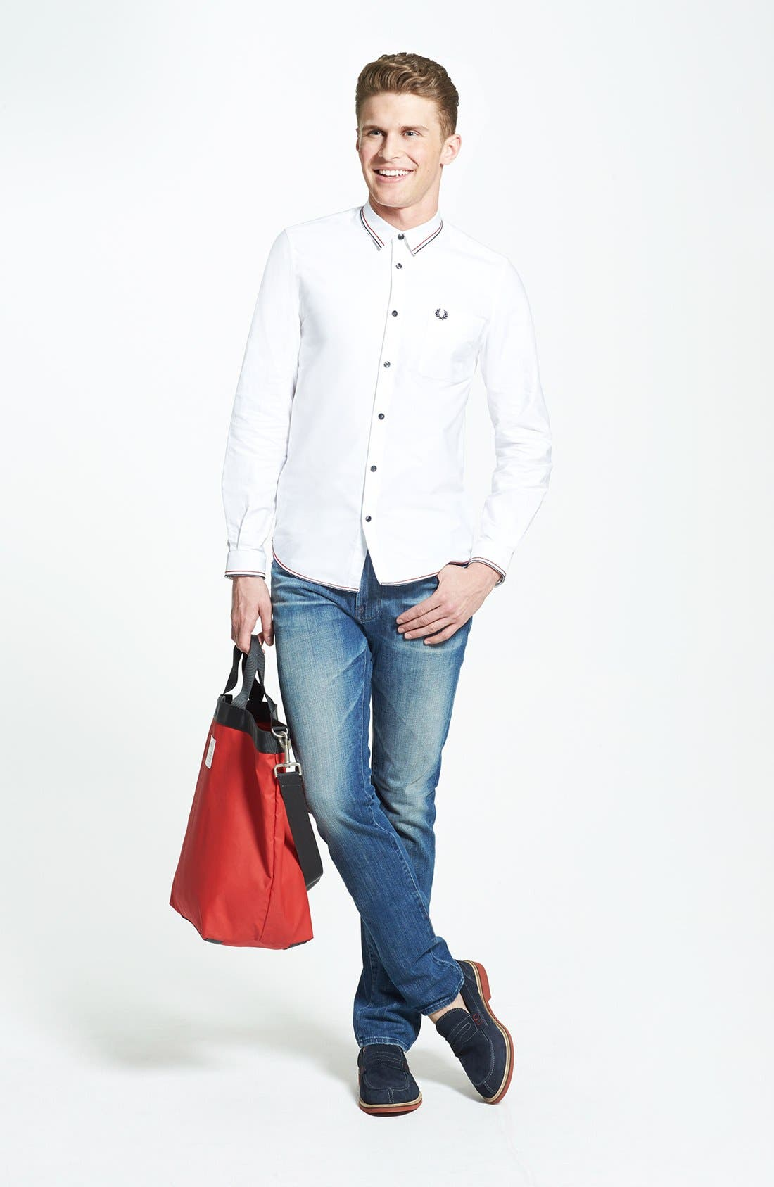 Main Image - Fred Perry Tipped Oxford Sport Shirt & Hudson Jeans Straight Leg Jeans