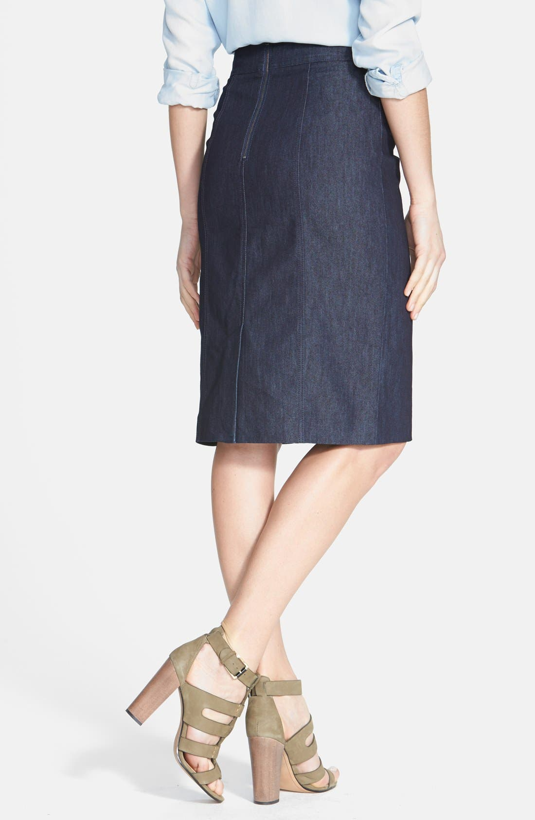 Alternate Image 2  - Halogen® Denim Pencil Skirt