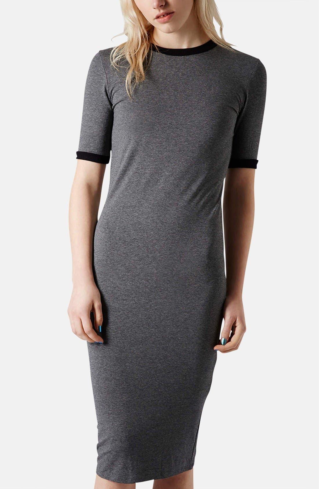Main Image - Topshop Rib Knit Trim Midi Dress