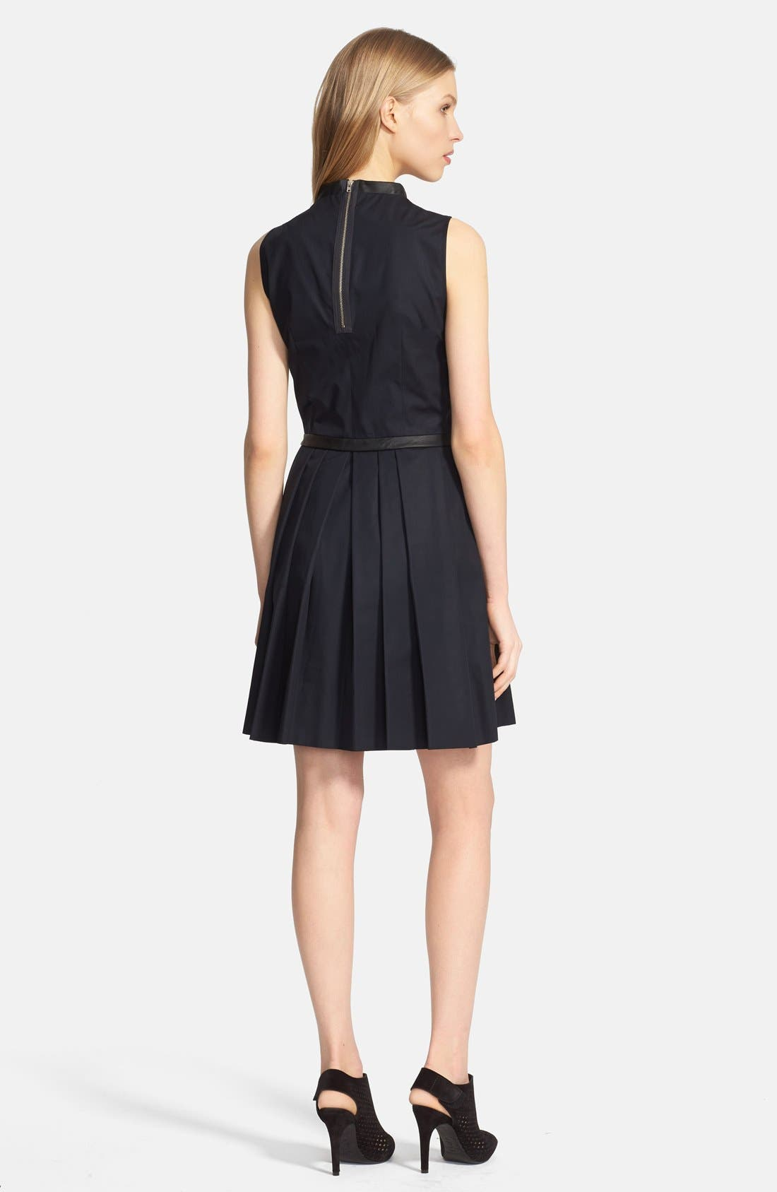 Alternate Image 2  - Band of Outsiders Leather Trim Poplin Dress