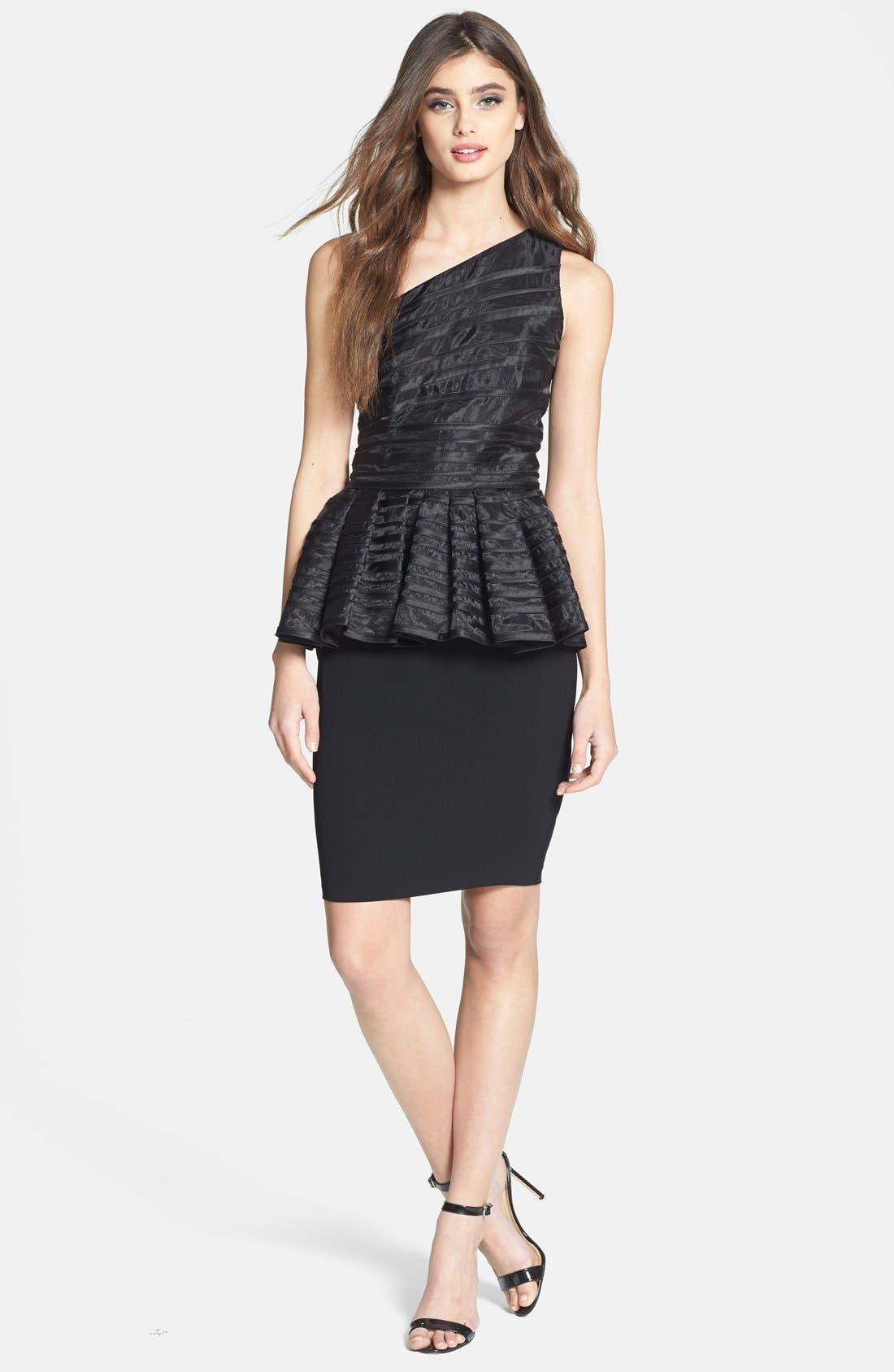 Main Image - Halston Heritage One-Shoulder Peplum Mixed Media Dress