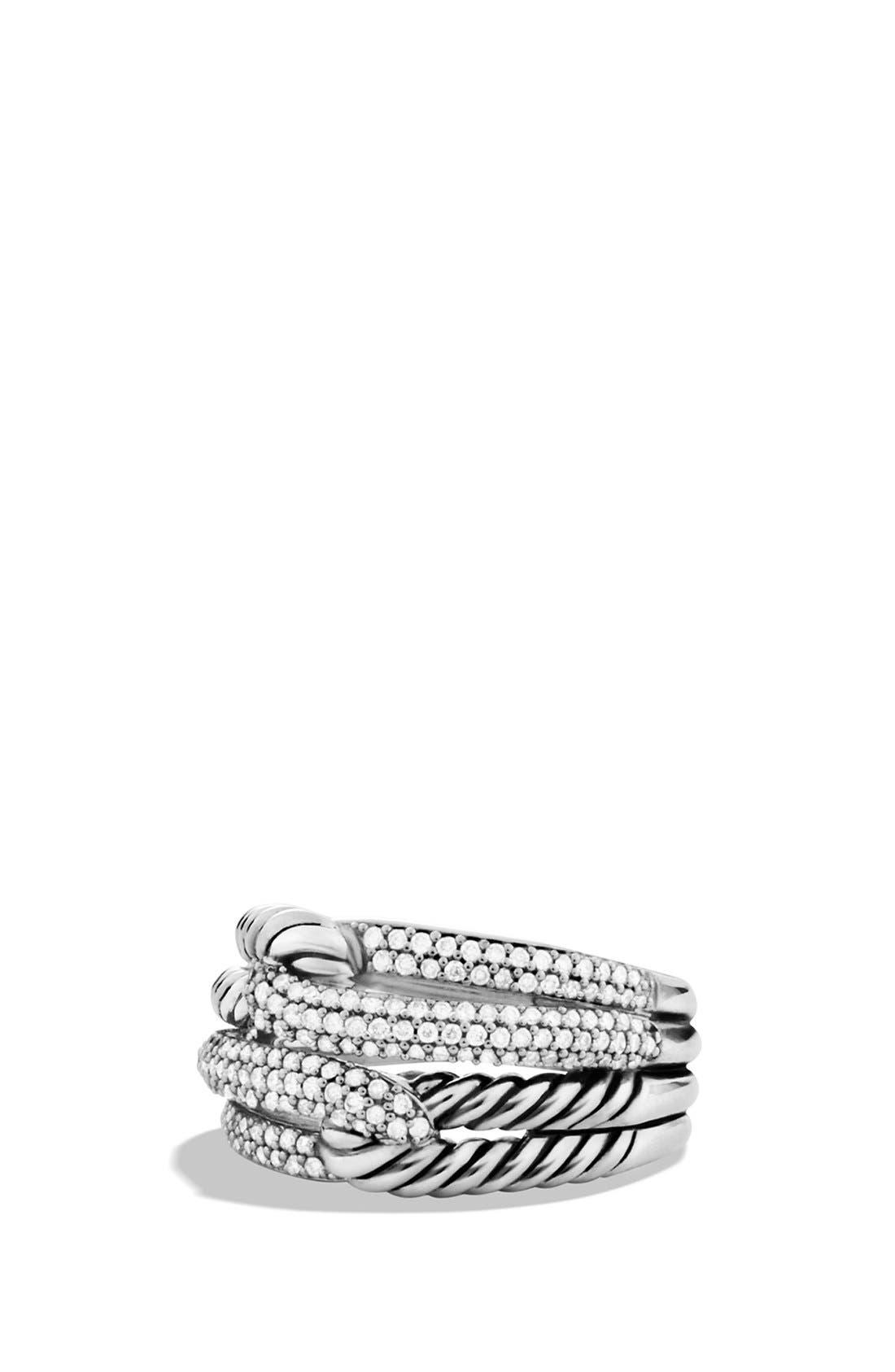 David Yurman 'Labyrinth' Double-Loop Ring with Diamonds