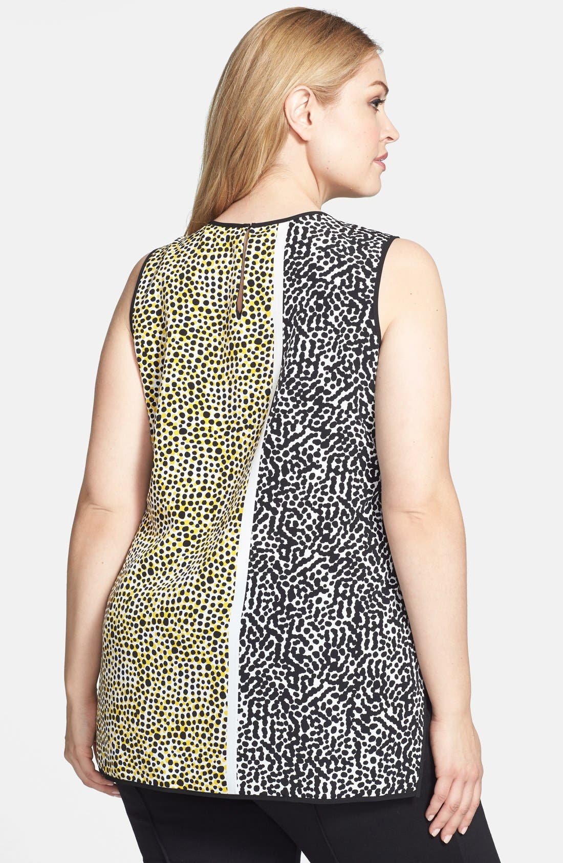 Alternate Image 2  - Vince Camuto Print Sleeveless Blouse (Plus Size)