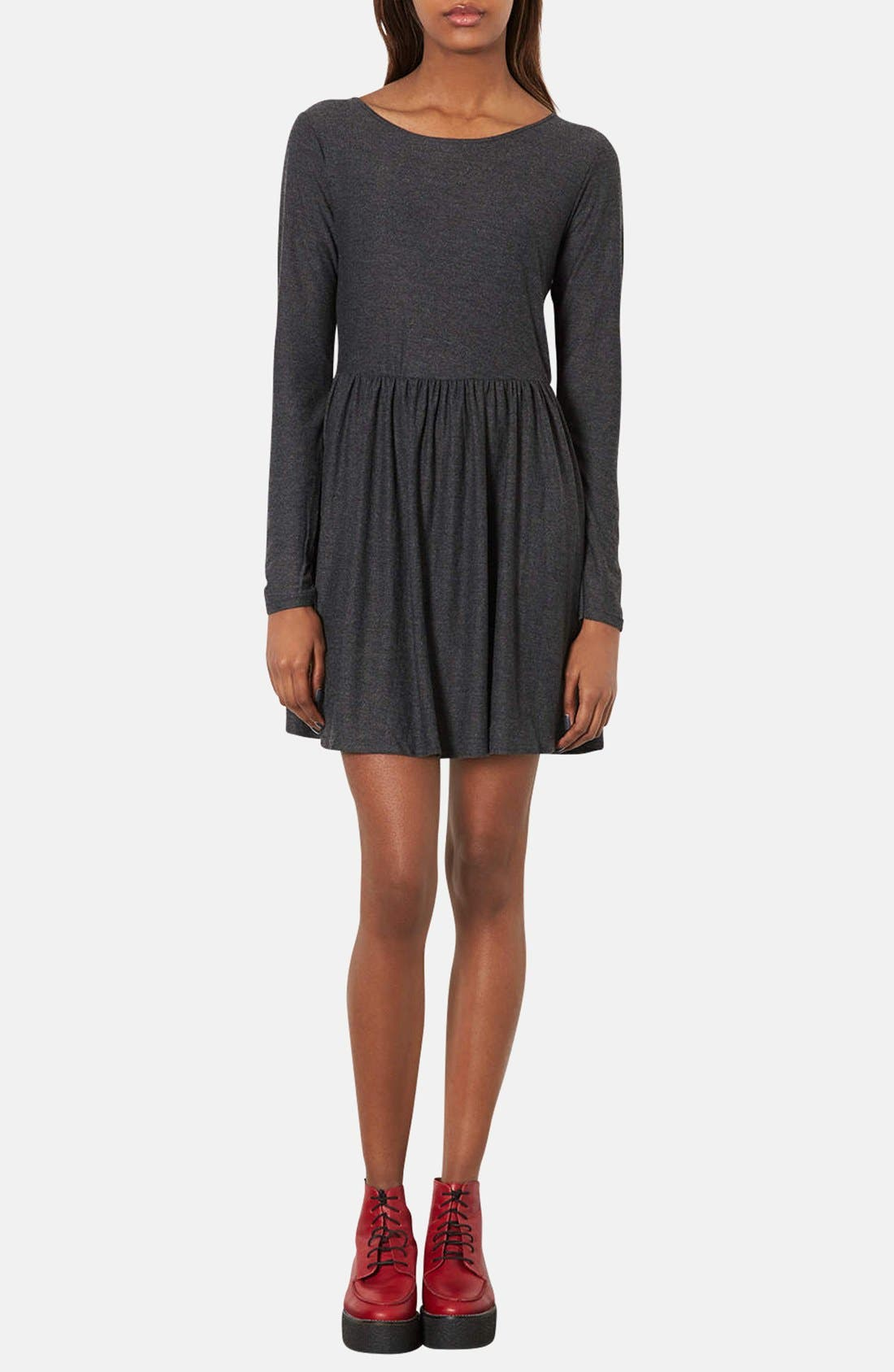 Main Image - Topshop Long Sleeve Jersey Skater Dress