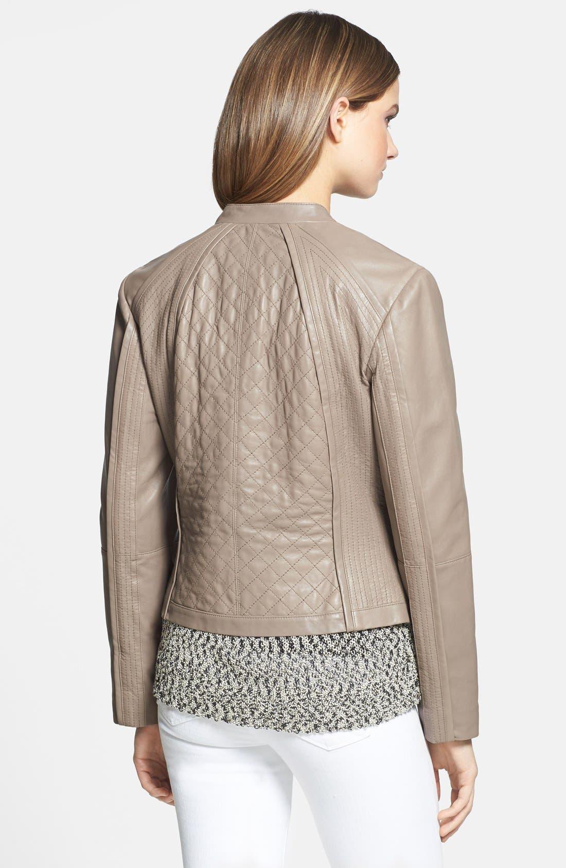 Alternate Image 2  - Trina Turk 'Winston' Zip Front Leather Jacket