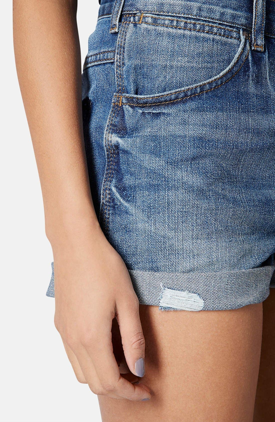 Alternate Image 4  - Topshop Moto 'Rosa' High Rise Denim Shorts (Mid Stone)