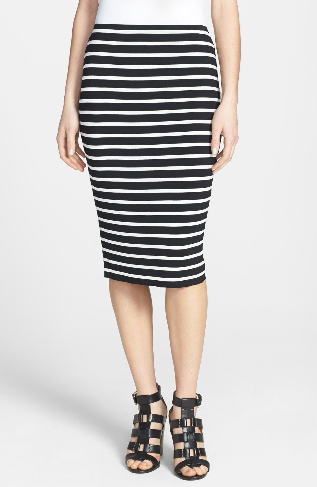 Main Image - Vince Camuto 'Retro Stripes' Midi Tube Skirt (Petite) (2 for $69)