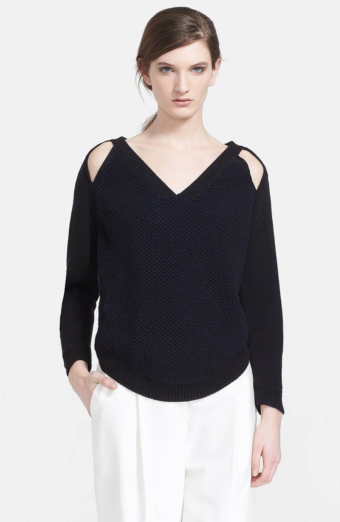 Alternate Image 1 Selected - 3.1 Phillip Lim Two-Tone Slit Shoulder V-Neck Pullover